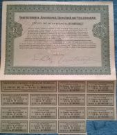 ROMANIAN TELEPHONES COMPANY SHARES, STOCK, REVENUE COUPONS, 1938, ROMANIA - Industrie