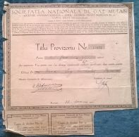 ROMANIAN NATIONAL GAS COMPANY, PROVISIONAL CERTIFICATE FOR SHARES, STOCK, REVENUE COUPONS, 1945, ROMANIA - Electricité & Gaz