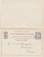 ETAT INDEPENDANT DU CONGO - BOMA , Carte Postale Avec Reponse Payee - Ganzsachen