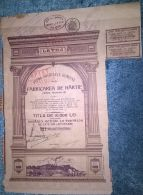 LETEA PAPER FACTORY COMPANY, SHARE, STOCK, REVENUE COUPONS, 1941, ROMANIA - Industrie
