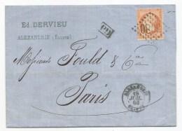 "- Lettre - BFE EGYPTE - ALEXANDRIE GC.5080 S/TP Napoléon III N°23 + ""PD"" Noir + Càd T.15 - 1863 - Alexandria (1899-1931)"