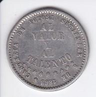 MONEDA DE PLATA DE BOLIVIA DEL AÑO 1865 AL VALOR Y AL TALENTO-POTOSI (COIN) SILVER,ARGENT. - Bolivia