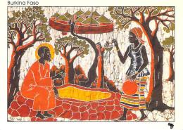 Afrique > BURKINA FASO - Jésus Et La Samaritaine Batik Du Burkina Faso (B)  ( Religion) * PRIX FIXE - Burkina Faso