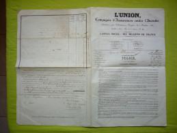 Contrat Police Cie D'assurances Contre L'incendie 1838 à Montpellier - France