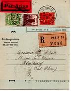 L´ Aerogramme Paris Strasbourg 1931 Journal Par Avion Recommander 97 Cts - Airmail