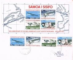 BR 817 SAMOA BRIEF YVERT  388/391 + BL 19  ZIE SCAN - Samoa