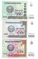 Uzbekistan Set 500 / 1000 / 5000 Som UNC - Uzbekistan