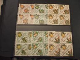 GABONAISE - TASSE 1962 FRUTTI 12 VALORI, In Quartine(blocks Of Four) - NUOVI(++) - Gabon (1960-...)