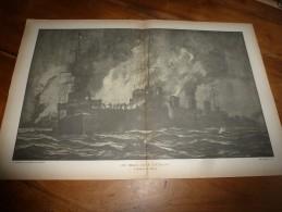 Guerre Navale Grav. Cecil King : L'AFFAIRE DU BROKE (Un Beau Coup D'étrave)  (dim. Document = 50cm X 33cm - Boats