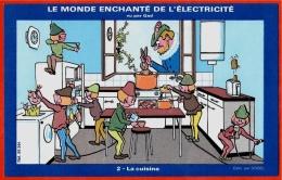 BUVARD LE MONDE ENCHANTE DE L'ELECTRICITE Vu Par GAD - 2 LA CUISINE - Electricity & Gas