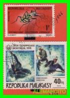 MADAGASCAR  ( MALAGASY )   3 SELLOS  AÑO 1966-76 - Madagascar (1960-...)