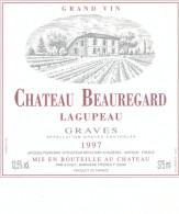 1 Etiquette Ancienne De CHATEAU BEAUREGARD LAGUPEAU - GRAVES 1997 - Bordeaux