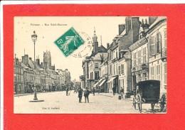 80 PERONNE Cpa Animée Rue Saint Sauveur Edit Souillard - Peronne