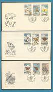 Tchécoslovaquie 1961 1184 à 1192 Sur 3 FDC Papillons Vlinders Butterflies Schmetterlinge Mariposas Farfalle - FDC