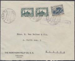 España 1937. Carta De Tolosa A Malaga. Censura. - Marcas De Censura Nacional
