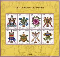 BHUTAN- 2016- Latest Issue- Eight Auspicious Symbols Of Buddha- Sheetlet+ MS Set-MNH - Buddhism