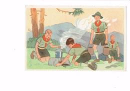 Cpa Comité Colonies De Vacances - Scouts Scout Garçon Foret Feu De Bois Cuisine - été 1937 N°5 Georges Lang - Padvinderij