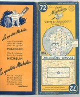 Carte Géographique MICHELIN - N° 072 ANGOULEME-LIMOGES - 1951 - Strassenkarten