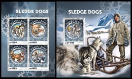 SIERRA LEONE 2016 - Sledge Dogs, M/S + S/S. Official Issue. - Other Means Of Transport
