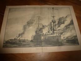 Guerre Navale Grav. Cecil King : HELIGOLAND (Le LUCHER Accoste Le MAINZ Après Combat ) (dim. Document = 50cm X 33cm - Barche