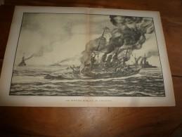 """Guerre Navale Grav. Cecil King : LES DERNIERS MOMENTS DU """"GNEISENAU"""" (dim. Document = 50cm X 33cm - Boats"""