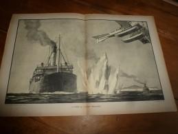 """Guerre Navale Grav. Cecil King : LA PRISE DU VAPEUR """"WAIRUNA"""" (dim. Document = 50cm X 33cm - Barche"""