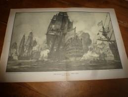 """Guerre Navale Grav. Cecil King : (Beachy Head 1690) UNE BATAILLE D'ANTAN : """"BEVEZIERS"""" (dim. Document = 50cm X 33cm - Boats"""