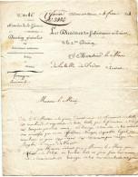 CHALONS EN CHAMPAGNE Marne Document Militaire 4.2.1824 Le Directeur Des Subsistances Militaires Au Maire De SEDAN  ....G - Historical Documents