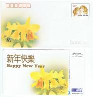 ORCH-L2 - CHINE Entier Postal Carte Et Enveloppe De Nouvel An 1994 Avec Orchidée, Chiens  Chat Oiseau - 1949 - ... République Populaire
