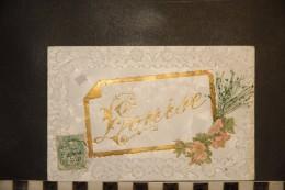 CP, Fantaisie, Carte Gauffrée A Reliefs LOUISE Carte A Rajout Découpis Fleurs Et Ajout NAturel - Tarjetas De Fantasía