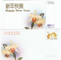 ORCH-L5 - CHINE Entier Postal Carte Et Enveloppe De Nouvel An 1994 Avec Orchidée, Chiens Téléphone - 1949 - ... République Populaire