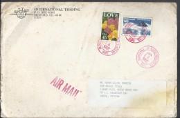 USA Airmail 1988 45 Cent Roses Greetings, 1961 Antarctic Treaty Postal History Cover Sent To Pakistan. - Brieven En Documenten