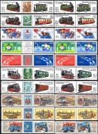 3-Streifen Eisenbahn I+III DDR 2562/5,2792/5,2878/9,2345/6,2268/9,2532/3,2343/4,2609/0+10 ZD ** 23€ Se-tenant Of Germany - Briefmarken