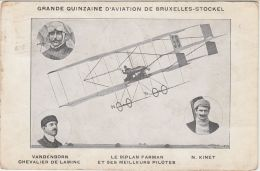 27198g  QUINZAINE D'AVIATION BRUXELLES - STOCKEL - VANDENBORN - BIPLAN FARMAN - N. KINET - 1910 - St-Pieters-Woluwe - Woluwe-St-Pierre