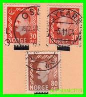 NORUEGA ( EUROPA )  3 SELLOS AÑO 1950 - Norwegen