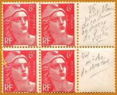 France**LUXE 1945 P 721Aa + 721A Paire Dans Bloc De 4, Mèches Reliées, Vf 6 F. Rose Carminé, Marianne De Gandon (format - France