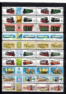 3-Streifen Eisenbahn II+IV DDR 2629/2,2864/7,2357/8,2429/0,2153/4,2426/7,2880/1,2722/3+10 ZD ** 21€ Train Se-tenants GDR - Stamps