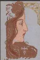 CPA:Art Nouveau:Profil De Femme:Motifs Dorés - Avant 1900