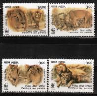 INDIA- 1999- WWF- Asiatic Lions- MNH- Set (Lions Asiatiques,Asiatische Löwen,Leones Asiáticos)