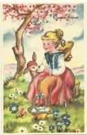 BUONA PASQUA  Ragazza Con Cerbiatto Bambi E Cesto Di Uova Pesco In Fiore E Prato Fiorito Particolari Con Brillantini Arg - Pasqua