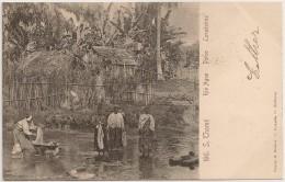 Postal S. Tomé E Principe - S. Thomé - Rio Agua - Porto - Lavadeiras (Ed. Osorio & Seabra) - PostCard - CPA - Sao Tome Et Principe