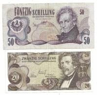 Austria Lot 20 & 50 Shilling 1967/70 - Austria