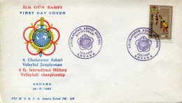 9911 Turkey, Fdc 1966  4th Intern. Military Volleyball Champ.  Ankara - Volleyball