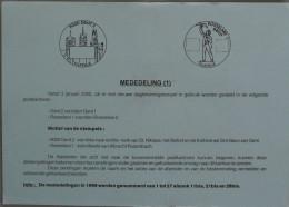 België 2000 Postdienst - Gent : Kerk Van St. Niklaas, Belfort, Kathedraal Sint-Bavo - Albrecht Rodenbach Roeselare - Postdokumente