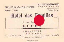 ROUEN LEGAIGNOUX  Hôtel Des Familles - Cartes De Visite