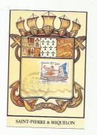 """SAINT-PIERRE-et-MIQUELON  :  Carte Maximum  527   """" Canöé Micmac """"  Année 1990 Oblitération Saint Pierre - Cartes-maximum"""