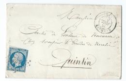 LETTRE 20 C EMPIRE N°14   CARHAIX  A  QUINTIN   PC - 1849-1876: Klassieke Periode