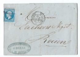 LETTRE 20 C EMPIRE N°14   PARIS A  ROUEN - Marcophilie (Lettres)