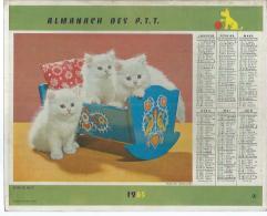 ALMANACH DES POSTES  1965 ( CALENDRIER ) BONNE NUIT / BON VOYAGE ( CHAT + CHIEN ) - Calendriers