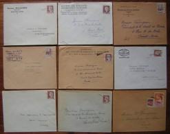 Lot De 9 Enveloppes Avec Oblitérations De Fortune... - Postmark Collection (Covers)